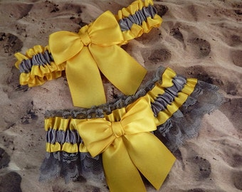 Daffodil Yellow Satin Gray Lace Gray Satin Wedding Bridal Garter Toss Set
