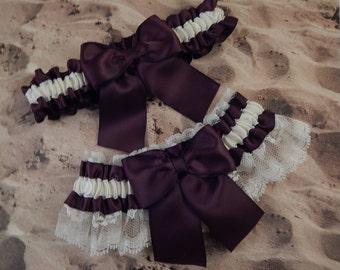 Raisin Burgundy Satin Ivory Lace Bridal Garter Toss Set
