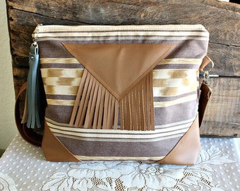 Fringe tassel crossbody handbag purse /5 pocket /Messenger bag/ Shoulder bag/ Tote bag/Ikat