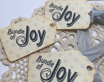 Bundle of Joy Baby Shower Tags  Favor Tags Baby Boy Blue and Grey Set of 6