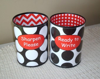 Black White Red Polka Dot and Chevron Desk Accessories - Tin Can Pencil Holder with Labels - Classroom Organization - Teacher Gift   823