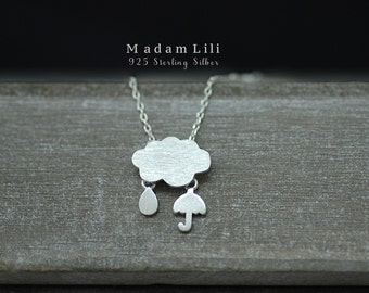 "925 Sterling Silver Necklace ""RAIN"""