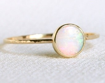 Natural AAA Opal Ring - Solid 14k Gold Simple Stack Ring with a Genuine Fiery Australian White Opal - October Birthstone Orbital Ring