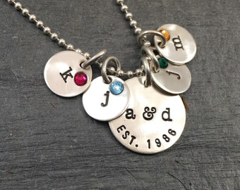 Family Necklace - hand stamped sterling silver with initials and birthstones.