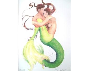 "MERMAID LESLIE LIthograph * Merfolk Couple by Robert Kline *Leisurus"" Sea Master"
