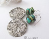 Silver Turquoise Earrings, Handmade Sterling Silver Earrings, Exotic Organic Earthy Rustic Tribal Silver Metalwork Natural Turquoise Jewelry
