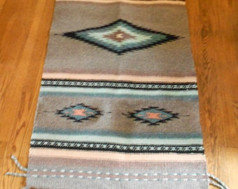 Mexican Rug / Gray Blue Pink Black Weave  SALE