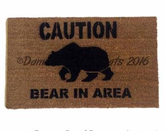 CAUTION Bear in area doormat door mat