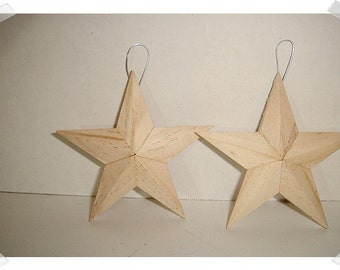 Small Wooden Star Ornaments- Unfinished/ Set of 2/ Craft Supplies*