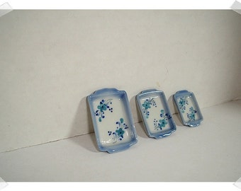 Hand Painted Blue Flower Ceramic Baking Tray / Set of 3/ Mini/Craft Supplies*