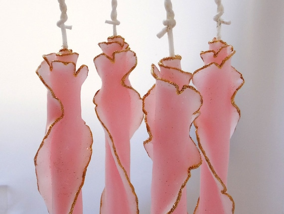 Pink & Gold, Beeswax Glitter Rose Tapers, Unique Taper Candles, Pink Candles, Valentines Day Gift, Romantic Decor, Birthday Gift for Her