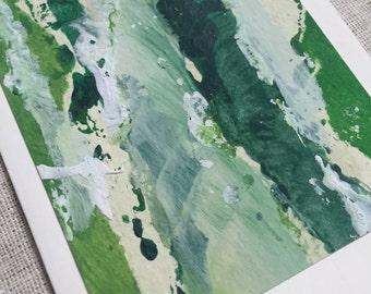 handmade green birch tree pattern blank greeting card