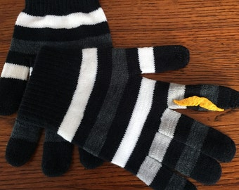 Gray Black and White Stripe Mustache Gloves with Conductive Fingertips - for use with smart devices