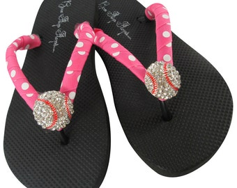 Baseball Bling flip flops- Hot Pink Polka- with baseball sparkle rhinestone - Custom Team Colors, Baseball Mom Player