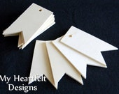 Wooden RIBBON BANNER Ornaments, Gift Tags, Tag Shape (Lot of 6) Name Tags, DIY Unfinished Wood [Blank labels] Celebration party banner