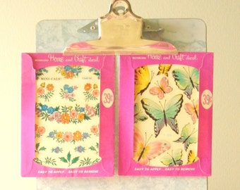 Set of 2 Meyercord decal sheets, 1960s flowers & butterflies, Paris apartment, home decor, embellishment, original packet