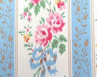 Vintage Ticking Pillow Cover Never Used Shabby Roses Ribbons Chic Pink Blue