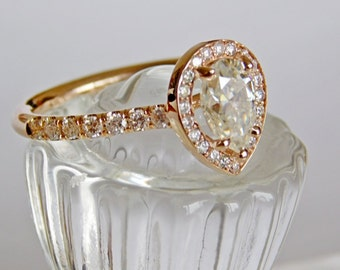 Engagement Ring - Rose Gold -  35 Round Brilliant Diamonds  1.33 Carat Pear shaped Forever Brilliant Moissanite LJ1500