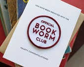 Book Worm Club - letterpress card & embroidered patch
