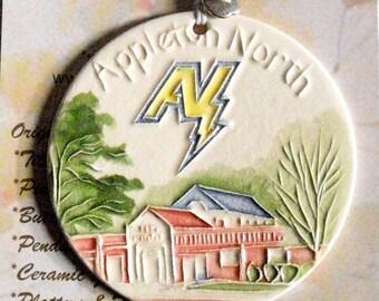 Appleton North Ceramic-Watercolor Ornament for wall or tree plus free gift wrap, original, 100% handmade