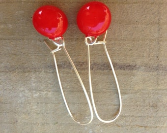 Red Fused Glass Sterling Silver Danglies Earrings
