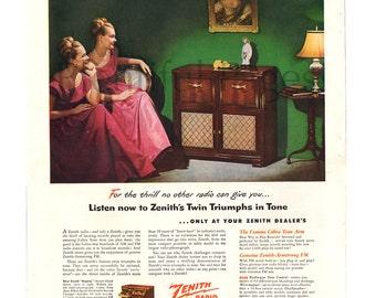 1948 Zenith Radio Vintage Ad, 1940's Decor, Vintage Radio, 1940's Fashion, Retro Radio, Twins, 1940's Living Room, Great for Framing.
