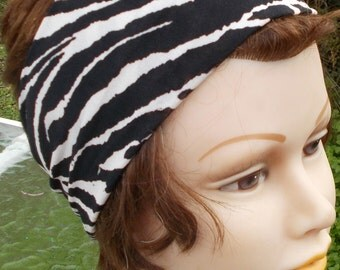 HEADBAND Soft Stretch Jersey KNIT WOMENS Teen Girls Zebra Pint One Size Fits Hairband