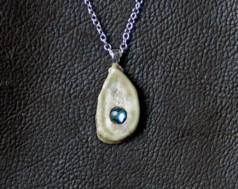 Antler Pendant with Paua Shell Cabachon