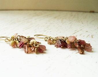 14k Gold Chandelier Earrings / Gold Chandelier Earrings / Chandelier Earrings / Handmade Earrings / Gold Dangle Earrings / Bridal Jewelry