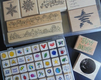 Awesome Lot of 49 Wood Mount Rubber Stamps Scrapbooking Papercraft