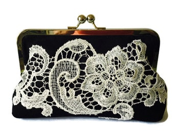 Bridesmaid Clutch, Black Linen and lace bridal clutch, heirloom wedding accessory, casual wedding,  country wedding clutch