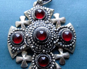 Jerusalem Cross Religious Pendant Antique 900 Silver With Red Stones SS457