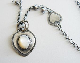 Silver heart pendant with Mother of Pearl - small silver pendant - MOP pendant necklace - artisan crafted