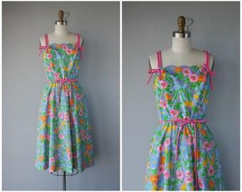 Vintage 1970s Sun Dress | 70s Dress | 1970s Dress | 1970s Day Dress | 1970s Midi Dress
