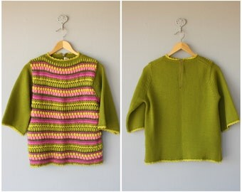 Vintage 1960s Sweater | 60s Sweater | 60s Pom Pom Sweater | Boatneck Sweater | Wool 60s Sweater
