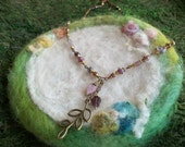 Purple Leaf Necklace with Beautiful Beads, Long Beaded Bronze Leaf Spirit Necklace