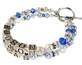 Mothers Bracelet- white pearl , sapphire and light blue swarovski-Mother Name Grandma Sterling Silver Personalized Mom Birthstone