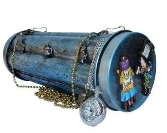 Alice in wonderland purse Clutch  BOX pocket watch necklace rabbit tea pot TIMe Steampunk gothic