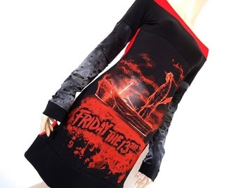 Friday the 13th Jason Voorhees Off Shoulder Tunic Dress Small Medium