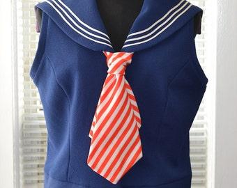 Vintage 60s/70s Mod - Ahoy Skipper! - Retro Navy Sailor Top - m