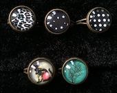 Pretty Floral Kitty Cat / Trees / Polka Dot / Stars / Cheetah Print Earring and Ring Lot