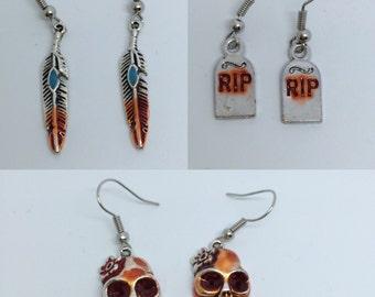 Bloody Tombstone Earrings / Bloody Feather Earrings/ Bloody Sugar Skull - Handpainted Earrings
