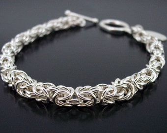Chainmaille bracelet sterling silver byzantine weave handmade
