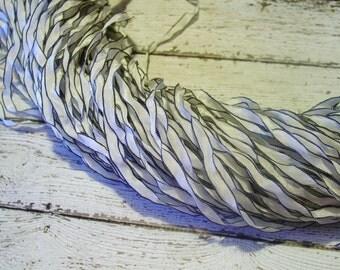 LovELy - undyed WeDDinG WhiTe with Curly Black edge ribbon, 5 yards