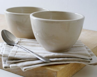 SECONDS SALE - Set of two large pottery soup bowls glazed in simply clay