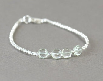 SALE-Green Amethyst  and sterling silver beads  bracelet