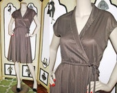 70's Polkadot Satiny Summer Wrap Style Dress in Brown and White. Small.