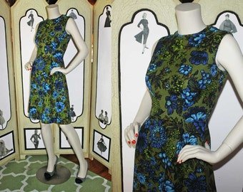 1960's A-Line Dress in Olive Green and Blue Floral Print. STUNNING. Small