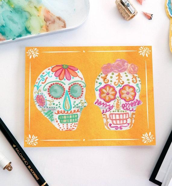 Sugar Skulls Halloween Greeting Card