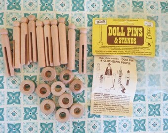 Nice Lot of Vintage Wooden Clothespins Doll Pins and Stands